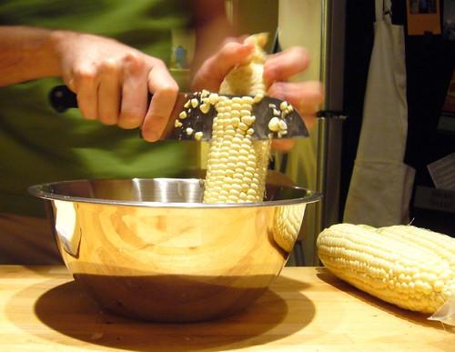 Slicing Corn Kernels