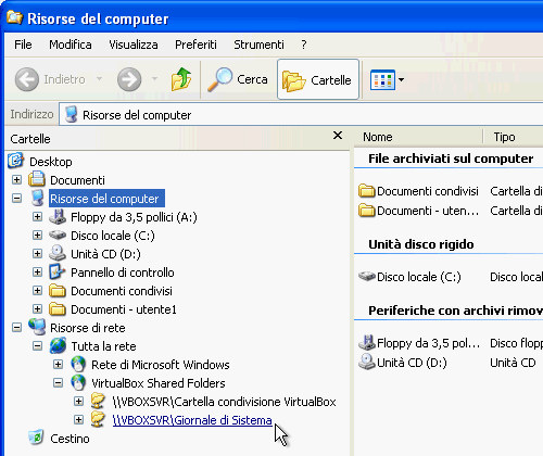 Fig. 17 - VirtualBox cartelle condivise - Cartelle condivise in Esplora risorse