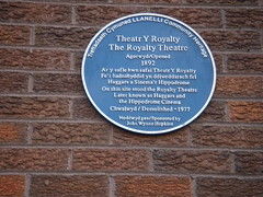 Photo of Royalty Theatre, Llanelli blue plaque