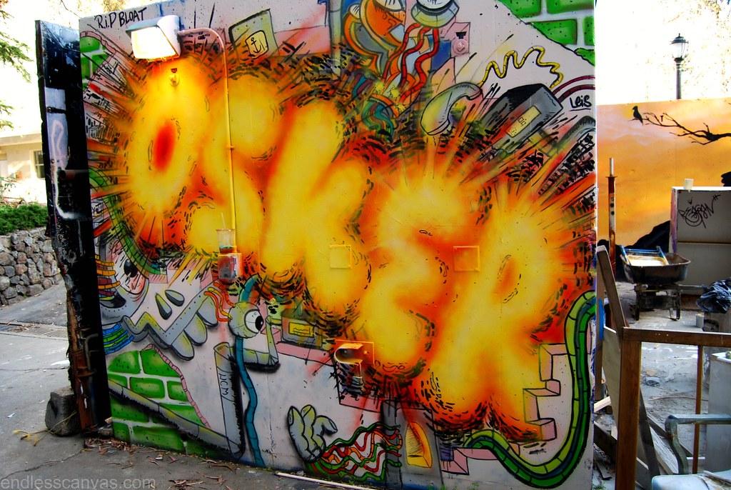 OSKER Explosion Graffiti Production in Berkeley, California.