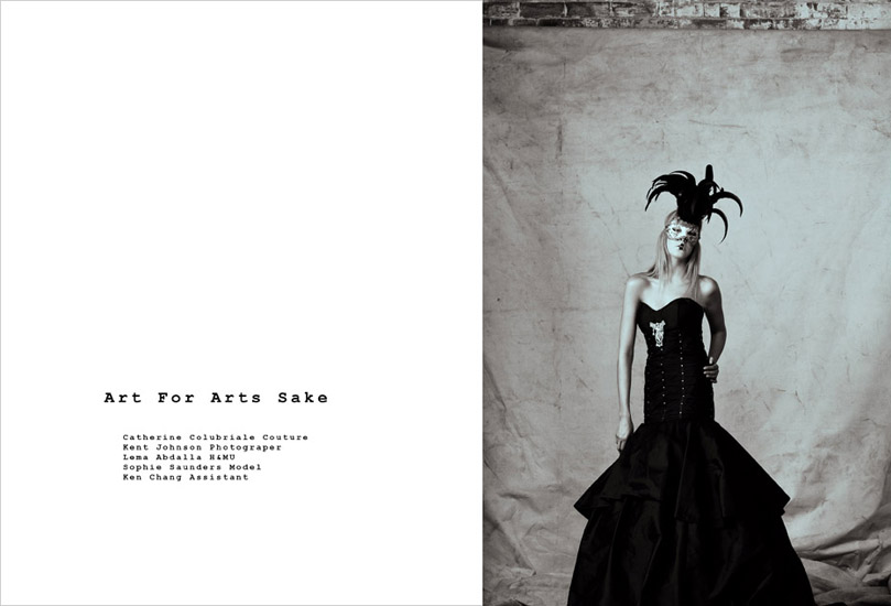 Studio Fashion, Catherine Colubriale Couture, Front Page. Photographed by Kent Johnson.
