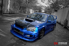 Black & Blue (Devin Kho) Tags: blue blackandwhite bw black car devin wheels transport olympus transportation subaru kho impreza wrx sti brunei hdr subaruwrxsti e500 zd 1454mm supershot anawesomeshot devinkho
