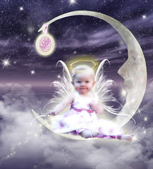 Littlest Angel (Cytosue) Tags: moon sparkles angel clouds photoshop stars halo addison magical