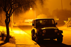 Dust Storm (Mr Geoff) Tags: arizona storm phoenix night streetlight jeep dust duststorm afterdark wrangler