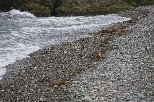 Stony beach: Get it stones? Throwing of them.......