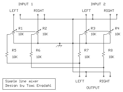 Audio Schematics - Mixer Circuits - Electronics Tutorials