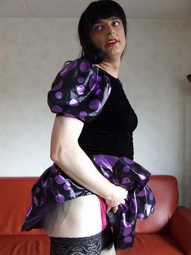 tgirl transvestite satin shortskirt cocktaildress satinfetish