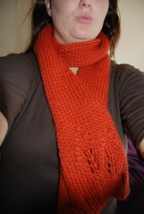 Wearing the Orange Leaf Scarf