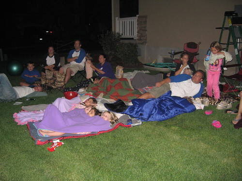 watching movies outdoors in the neighborhood