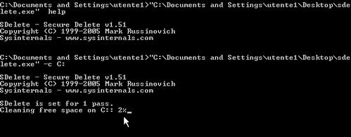 Fig. 4 - Compattazione disco virtuale - comando SDelete