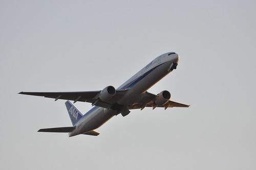 夕日に映える機体