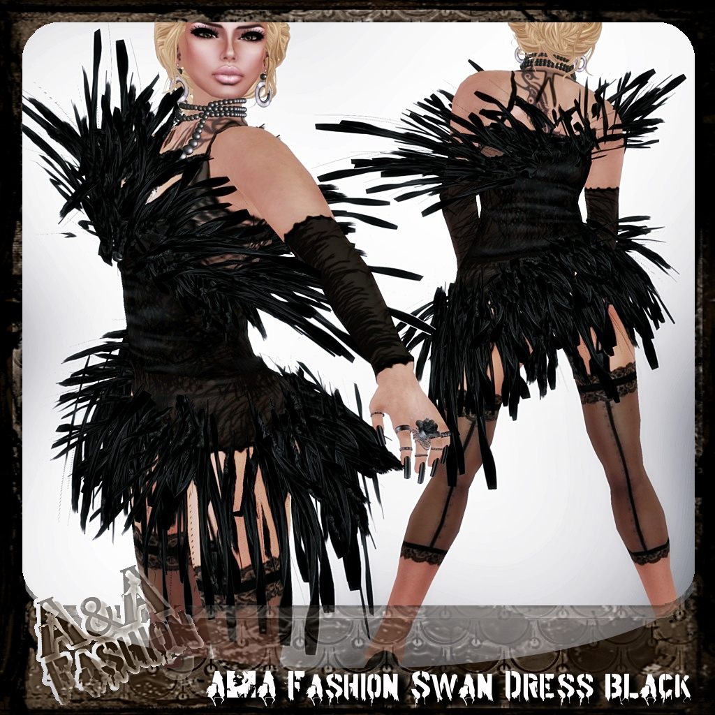 A&A Fashion Swan Dress Black