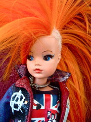 PUNK SINDY (RE-ROOT) (toypincher) Tags: leather altered toy punk doll made jacket customized anarchy re punx custom root collectable pedigree mohican sindy a orangepainted