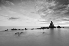 Song of Sirens (Classic Frame) (DavidFrutos) Tags: longexposure bw costa seascape beach water rock stone clouds monocromo coast agua rocks stones playa paisaje bn filter nubes nd alfa alpha filters almera roca rocas waterscape filtro sigma1020mm largaexposicin filtros neutraldensity arrecifedelassirenas sonydslr densidadneutra platinumheartaward davidfrutos 700 pncabodegata niksilverefexpro flickraward singhraygalenrowellnd3ss