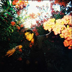 (eel ciurn) Tags: flowers flores 120 film girl yellow vintage glasses holga analgica chica flash retro amarillo gafas analogue colorflash 120mm analgico