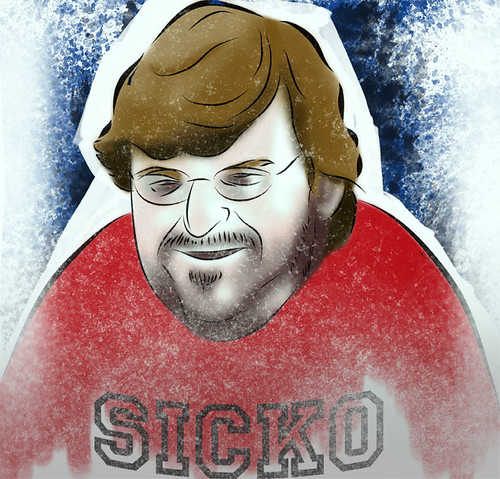 Caricatura de Michael Moore