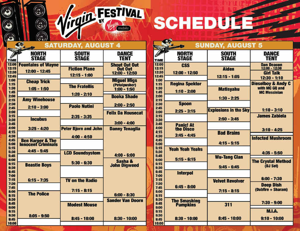 2007 Virgin Festival Schedule August 4-5