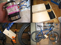 wooden bench mounted repair stand