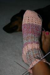 peekaboo rib sock wip