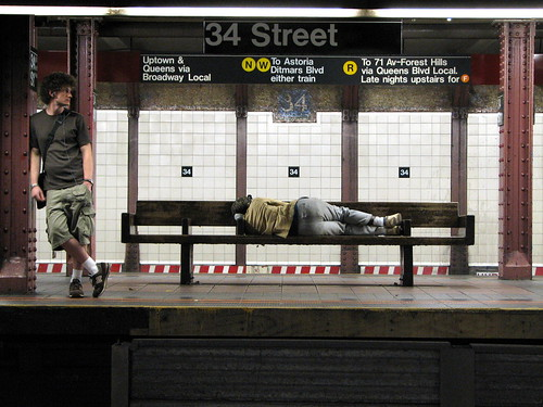 Homeless guy sleeping