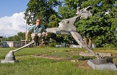 903 of 365 (The Goat Whisperer) Tags: summer portrait sculpture fish art me face june statue self jump jumping flickr group days more solstice roulette mutant dork 365 alumni fishface strider chernobyl fgr 365days