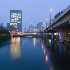 7:30PM (tearoom) Tags: bridge rain river rainyday osaka today ricoh magichour grd grd2 grdii