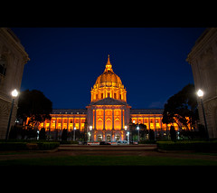 One Happy City (kaoni701) Tags: sf sanfrancisco orange night landscape lights championship nikon cityscape baseball dusk cityhall giants bluehour civiccenter worldseries game5 civiccenterplaza d700 24120f4
