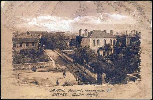 Karpostallarda yangından önce İzmir, İngiliz Hastanesi