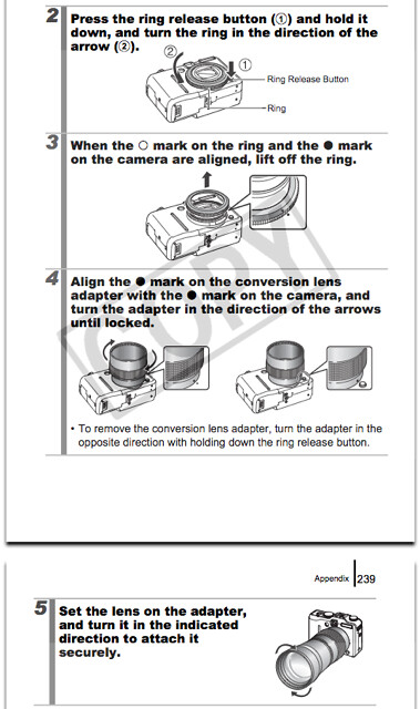 Attaching Tele-converter TC-DC58C and Conversion Lens Adapter LA-DC58H, as documented on pages 236 through 239 of the Canon G9 manual