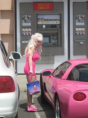 It's Angelyne! (Eleventh Earl of Mar) Tags: pink icon malibu blonde wellsfargo southerncalifornia corvette bettyboop angelyne famousforbeingfamous