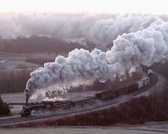 Helmstetter's Sunrise 2 (Steamsafari) Tags: curve wmsr 280 734 westernmarylandrailway westernmaryland734 westernmarylandscenic helmstetterscurve helmstetters