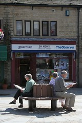 Reading the news (Richard Carter) Tags: uk reading newspaper guardian westyorkshire hebdenbridge observer calderdale caldervalley uppercaldervalley