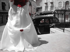 End of the ceremony (NyToul) Tags: wedding red bw white france bride couple village dress robe marriage gown oldcar mariage portfolio10 cotcbestof2006