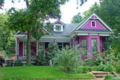 Cottage (Texas Finn) Tags: windows white detail tree architecture paint texas purple palestine victorian front historic porch railing trim frontporch shrubs preservation dormer top20pink onlythebestare charmiing