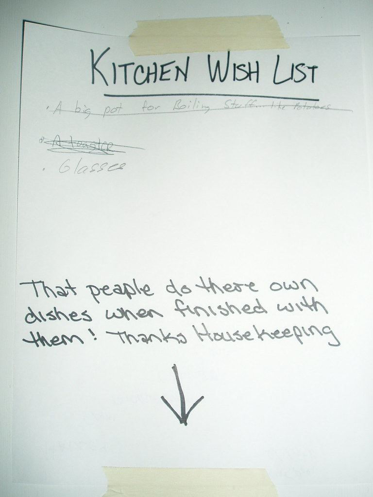 That peaple [sic] do there [sic] own dishes when finished with them! Thanks Housekeeping