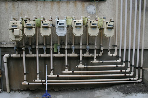 gas meters and pipes