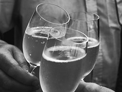 clink! (Barry McGrath) Tags: blackandwhite bw white black glass canon eos wine champagne celebration 30d canoneos30d aplusphoto barrymcg bazzymcg