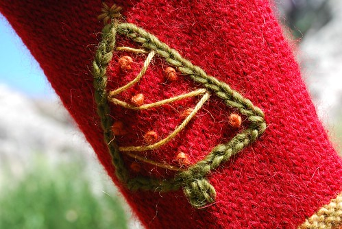 Rustic Holiday Stocking embroidered tree