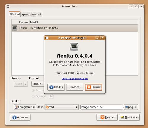L'écran d'info de Flegita avec la page des scanners reconnus