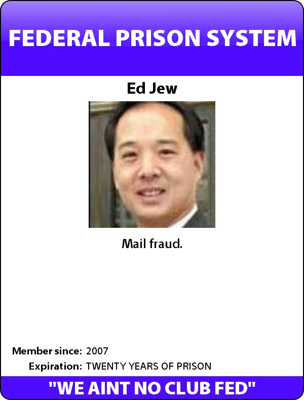 Parody photo: Supervisor Ed Jew - Federal Prison ID