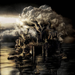 ultima thule (Marcela Bolvar) Tags: castle illustration photomanipulation dead lost island photography boat contest digitalart surreal digitalpainting cdcover isle cloudtree decrepitude bocklin ultimathule graydecay marcelabolivar