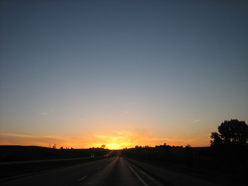 Driving into the sunrise