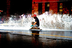 Andriy Waterboard (MattyKamz) Tags: new york city wet water hydrant fire insane skateboarding bronx longboarding