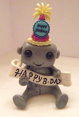 Happy Birthday Robot! (Sleepy Robot 13) Tags: pink urban cute art fun toy toys robot funny robots polymerclay fimo figurines clay gamer kawaii sculpey etsy urbanvinyl designertoys sculpy sleepyrobot13 videogamepanda