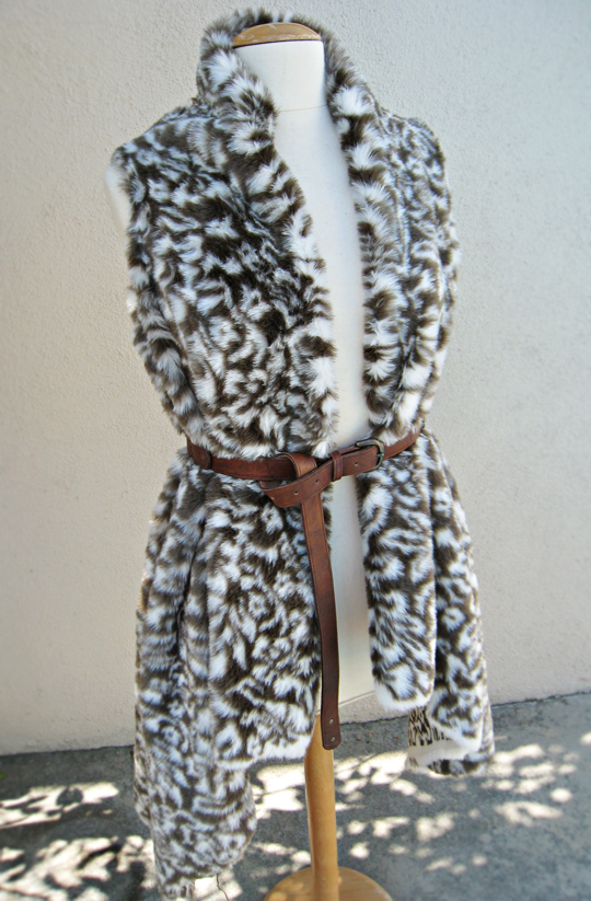 Asymmetrical Faux Fur Vest DIY - belted - front