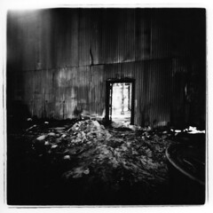 The room beyond (Otto K.) Tags: door atlanta light bw abandoned 6x6 film wall train mediumformat blackwhite holga barrel delta pinhole warehouse ashes kirkwood depot 3200 ilford deserted decayed ue urbex pinholga ottok