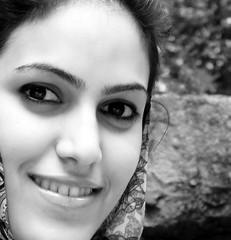 Persian Smile (Hamed Saber) Tags: portrait bw girl beautiful persian iran persia mina saber iranian  hamed farsi             minadoroud flickr:user=mina upcoming:event=206199