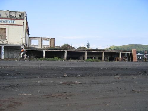 Congo - Goma Bldgs Buried under lava
