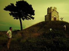 Playing on the Hill (marbil) Tags: travel light sky man tree fairytale composition photomanipulation photoshop happy interestingness hill dream surreal atmosphere chapel adventure story fujif10 photomontage imagination greatpix 2007 dreamscapes photoshopart blueribbonwinner interestingness94 i500