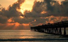 Jacksonville Pier Sunrise (minds-eye) Tags: ocean sea sun beach water clouds sunrise pier waves god glorious stunning jacksonville rays senic onlythebestare